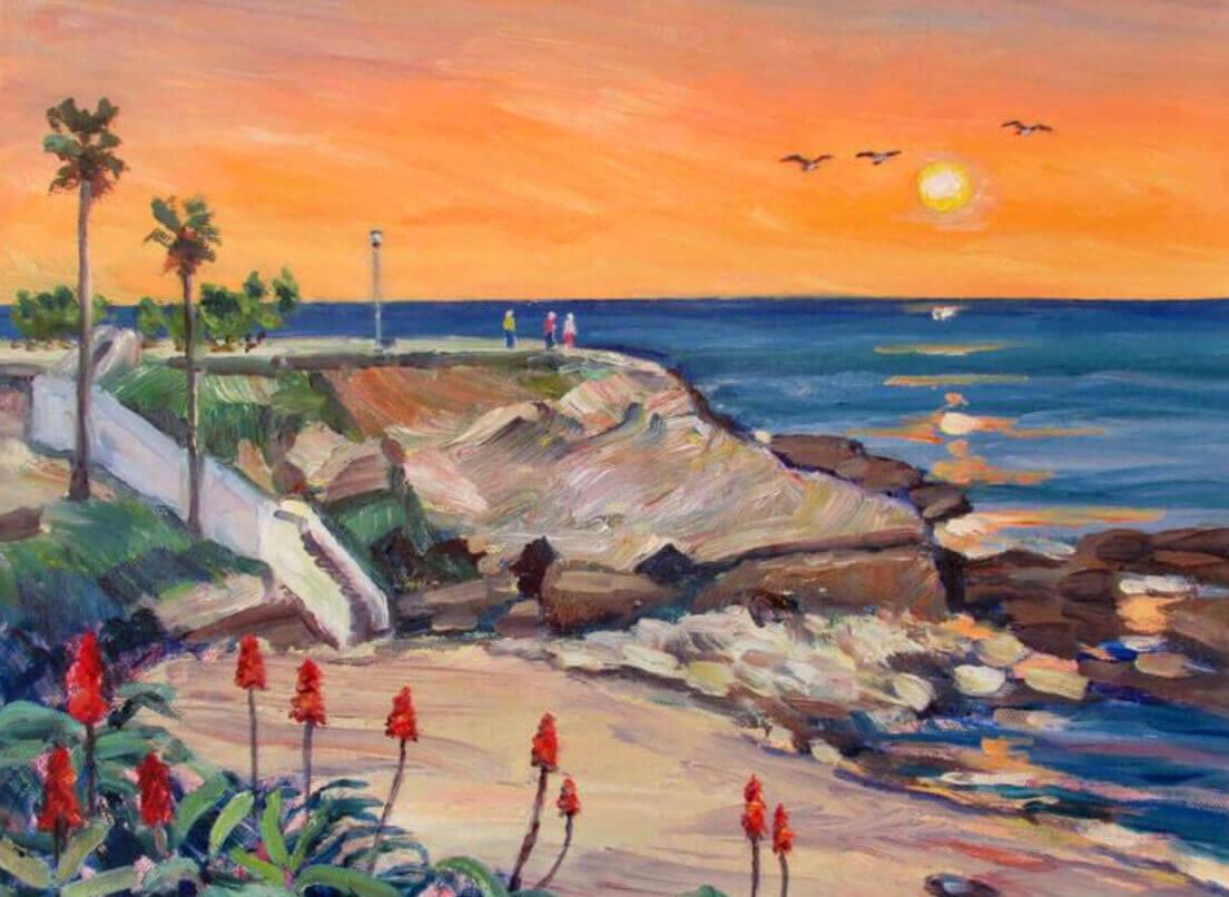 An Artist Paints at La Jolla Cove