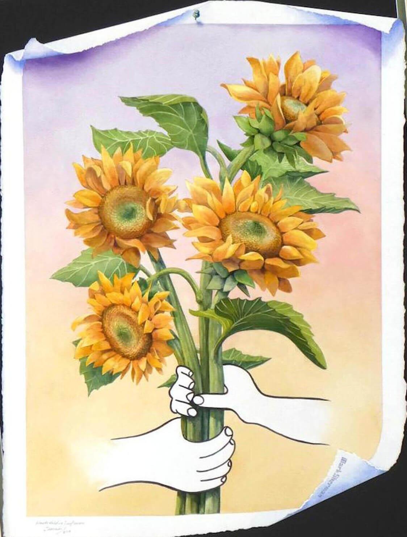 Hands Holding (Sun) Flowers - Mark Sherman